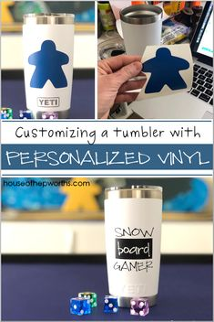 Personalizing a tumbler with custom vinyl - House of Hepworths Bee Crafts, Diy And Crafts, Design Logos, Project Board, Cricut Tutorials, Diy Pins, Vinyl Cutter, Custom Vinyl, Cricut Vinyl