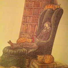 'The book collector with six cats' -  close up.