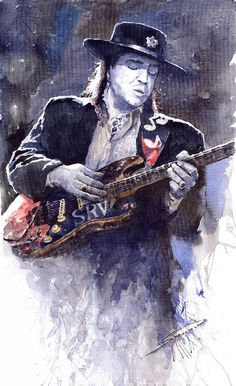 Yuriy Shevchuk, Stevie Ray Vaughan 1 - Born in 1961 in Kiev, Ukraine, Yuri Shevchuk attended the Kiev Art School and the prestigious Kiev Architectural Academy. Yuriy has recorded his own experiences in his artworks: his three passions, painting, jazz and historical cars have become the focus of his paintings. Bewitched with jazz music he skillfully and rapidly sketches the cool and charming figures of musicians in action, showing the positive mood and spiritual intensity of jazz.