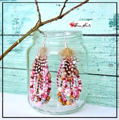 Boucles d'oreilles Ethniques perles et plumes,perles en papiers,bijou original - Blanc,Rose/Marron/Argent - bijoux femmes,bohèmes,hippies,gypsy : Boucles d'oreille par sunkris