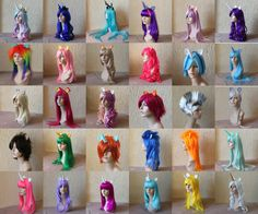 MLP cosplay wigs From left to right: Princess Celestia, Princess Luna, Queen Chrysalis, Twilight Sparkle, Princess Cadence, Rarity, Rainbow Dash, Flutter Shy, Apple Jack, Pinkie Pie, DJ Pon3 or Shining Armor, Trixie, Derpy Hooves, Apple Bloom, Sweetie Belle, Scootaloo, Zecora, Silver Spoon, Dr. Whooves, Snips, Snails, Soarin', Spit Fire, Lyra Heartstrings, Pink, Light Purple, Dark Pink, Light Blue, Yellow, White.