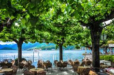 Outdoor Cafe at Bellagio on Lake Como in Italy Vacation Destinations, Dream Vacations, Vacation Ideas, Lac Como, Lake Como Italy, Italian Lakes, Outdoor Cafe, Outdoor Areas, Italy Travel