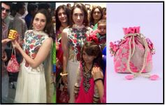 Karisma Kapoor carries a polti bag by Pinky Saraf. She looks beautiful!