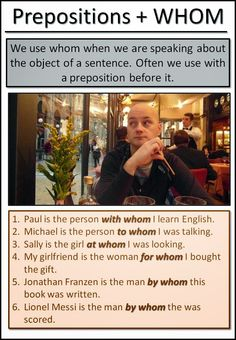 Prepositions with Whom #esl #tefl #learnenglish