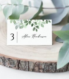 Wedding Place Cards Name Editable Template Instant Eucalyptus Printable Table Card Greenery