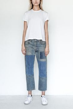 B SIDES Cotton Unisex Assorted Patchwork Denim - Vintage Denim collected from all over America and reworked in New York City - Each pair of B SIDES is reworked individually and therefore each pair is Love Jeans, Jeans Fit, Jeans Style, Outfit Jeans, Denim Fashion, Fashion Outfits, Denim Patchwork, Vintage Denim, Trends