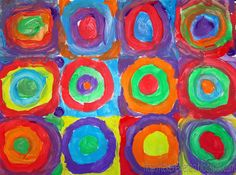 Kids Artists: Concentric circles in the style of Kandinsky Which circle would belong to cheerful music? And what kind of music did Kandinsky hear while painting the dark circle? Artists For Kids, Art For Kids, 3 Kids, Children, Arte Elemental, Projects For Kids, Art Projects, Kandinsky Art, Drawing Sheet