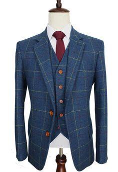 Kipling Series - 3 Pc Men's Suit - Navy Windowpane
