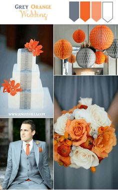 Grey and Orange Wedding