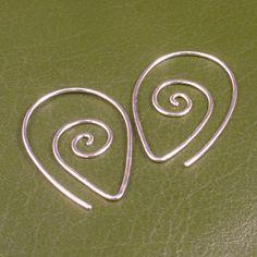 Sterling Silver Earrings / Swirling Silver Hoops / Argentium Swirl Spiral Tear Drop Hammered Tribal Twist Earring Unique Fun by MetalRocks on Etsy https://www.etsy.com/listing/87502276/sterling-silver-earrings-swirling-silver