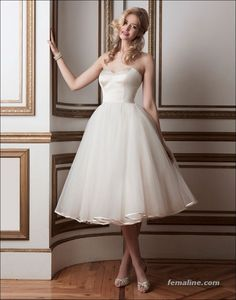 111 elegant tea length wedding dresses vintage (73)