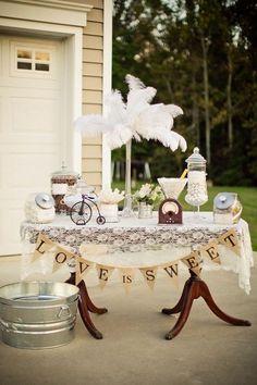 burlap and lace vintage wedding garland, Vintage Backyard Wedding, DIY wedding centerpiece #2014 Valentines day wedding #Summer wedding ideas www.dreamyweddingideas.com