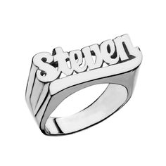 Jennifer Zeuner Jewelry - cursive nameplate ring $198 (also comes in gold/rose gold)