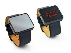 The mirrored surface of this wristwatch reveals an LED digital display only when desired. By SDWorks, Hong Kong