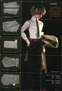 SD Tailored Coat, Pants, Shirt and Tie BJD Pattern PDF | CraftyLine e-pattern shop