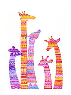 Giraffe Silhouette in Colorful Tribal Print - NEW Illustration Art by Annya Kai - Nature African Safari Wall Decor. via Etsy.