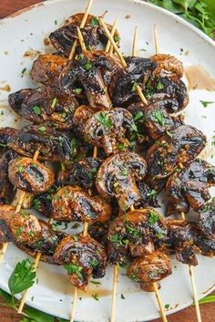 Grilled mushroom skewers with balsamic garlic - delicious food # balsamic # balsamic . - Grilled mushroom skewers with balsamic garlic – delicious food # balsamic - Skewer Recipes, Veggie Recipes, Vegetarian Recipes, Chicken Recipes, Cooking Recipes, Healthy Recipes, Dinner Recipes, Cooking Hacks, Grilled Vegan Recipes