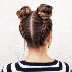 Upside down Dutch braids into 2 braided buns.