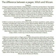 The difference between paganism witchcraft and wicca. Author did get one part wrong~Eclectic Wiccans pull from many different traditions to create their own unique one~doesn't necessarily mean they believe in more or less deities than they would otherwise