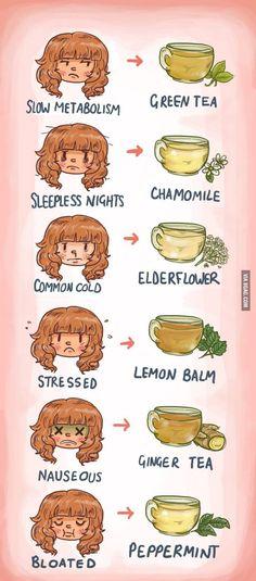 What tea to drink according to what ailment you have. Tea, tea, tea.