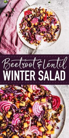 Beautiful to look at and delicious to eat this healthy winter salad with lentils is everything you need to feel good. Vegan gluten free and filled with plant-based protein and fiber! Make it as a holiday side for Christmas or as a salad for a wholesome Healthy Salad Recipes, Whole Food Recipes, Healthy Snacks, Vegetarian Recipes, Healthy Eating, Healthy Winter Recipes, Lentil Salad Recipes, Winter Salad Recipes, Protein Salad