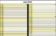 Printable July 2018 Calendar Weekly, Daily and Monthly Planner Hourly Planner, Calendar 2018, Printables, Print Templates