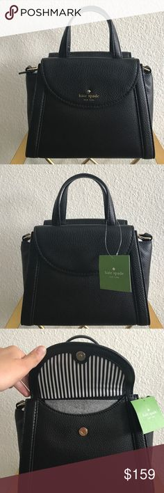 NWT Black Kate Spade Handbag 100% authentic. Gorgeous Kate Spade purse. In perfect condition. Can be used as cross body bag like shown in last image. Comes with dust bag. Two outside pockets - one in front and one in back. Two inside pockets - one with a zipper. Cute, trendy and beautiful for everyday wear! Happy to answer any questions! Happy poshing.  kate spade Bags