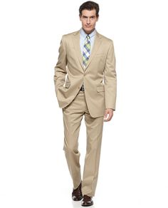 Lauren by Ralph Lauren Suit, Tan Cotton Big and Tall Slim Fit