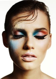 Nice colour mix. but where could you wear that? ( with the splotches of powder blue and cream above her right eye)