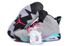 Men And Women Nike Air Jordan AJ6 Retro 6 Basketball Classical Shoes Gray Blue|only US$98.00 - follow me to pick up couopons.