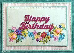 """""""Birthday Blossoms"""" card by Lauren Bergold; Fresh Flower Brads, Sun and Cloud Brads, Mini Stitched Flower Brads, Mini Butterfly Brads, Pearl Bling and Enamel Dots by Eyelet Outlet"""