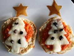 Make little pizza Christmas Trees.  A wonderful lunch to share with your toddler.