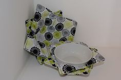 Reversible Microwave Bowl Cozy, Set of 4, 2 Small and 2 Large - pinned by pin4etsy.com