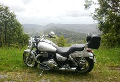 The Triumph Thunderbird pulls over for a second to admire another spectacular view.
