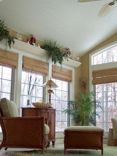 traditional patio room with vaulted ceilings