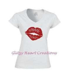 Lips Shirt, Rhinestone t shirt, Rhinestone Lips Shirt, Lip Shirt, Crystal Shirt, Lip tshirt, Glitter Lips, bling lips t, women shirt, by GlitzyHeartCreations on Etsy Lips Shirt, Mesh Laundry Bags, Glitter Lips, Lady V, Cool Tees, Lip Colors, V Neck T Shirt, Just For You, Crystals