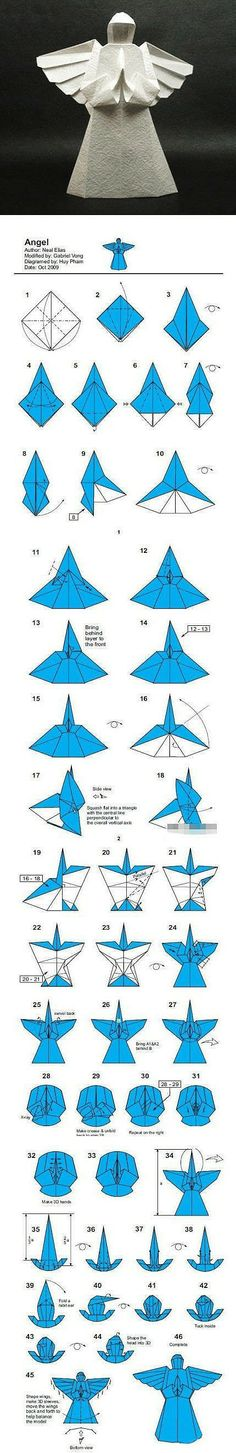Fold your own origami paper angel