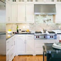Iridescent Backsplash, Transitional, kitchen, Benjamin Moore navajo White, LDa Architects