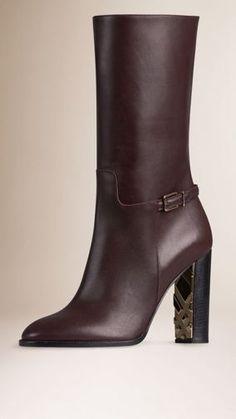 3936c670c79 Deep burgundy Check Detail Leather Boots - Image 1 Deep Burgundy