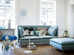 pretty blues. Sofa with high back - IKEA