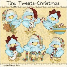 Tiny Tweets Christmas 1 - Whimsical Clip Art by Cheryl Seslar