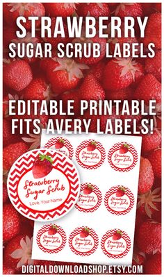 If you're giving a DIY strawberry sugar scrub as a homemade gift, you need these printable labels for the perfect finishing touch! They come in two sizes and they're editable! | sugar scrub tags, DIY gift tags, homemade gift labels, beauty, body scrub, editable PDF, #sugarScrub #bodyScrub #Etsy #DigitalDownloadShop