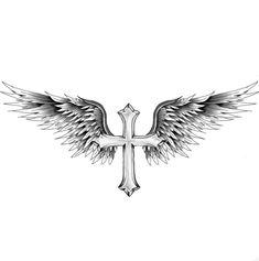 Chest Tattoo Wings, Cross With Wings Tattoo, Chest Piece Tattoos, Cool Chest Tattoos, Cross Tattoo For Men, Dope Tattoos, Small Tattoos, Body Art Tattoos, Lion Tattoo Sleeves
