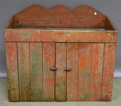 Red-painted Wood Dry Sink, ht. 39, lg. 44 in. : Lot 963
