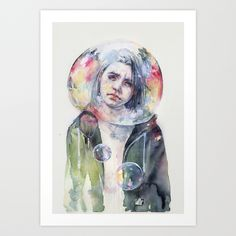 goodmorning+world+Art+Print+by+Agnes-cecile+-+$20.00