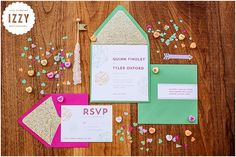 Valentine's Day Inspiration Shoot - hot pink & green geometric wedding invitations - gold glitter lining - conversation hearts - Miss Pickles Press - Izzy Hudgins Photography