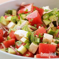 This vibrant and healthy summer salad is perfect for BBQs and backyard parties. The dressing is whisked together right in the salad bowl before you add the vege Watermelon Cucumber Feta Salad, Grilled Watermelon, Avocado Tomato Salad, Watermelon Recipes, Grapefruit Salad, Ceviche, Comfort Food, Summer Salads, Healthy Summer