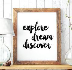 "Home Decor ""Explore dream discover"" Printable Art Poster – Typography Art Wall Decor, Inspirational Quote Print *INSTANT DOWNLOAD*"