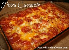 Quick and easy recipe for Pizza Casserole - This pizza casserole recipe is simple to make and is a favorite with kids. Use your favorite pizza toppings.