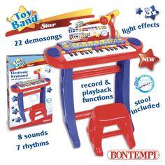 Tastiera elettronica a 31 tasti con microfono, gambe e sgabello.